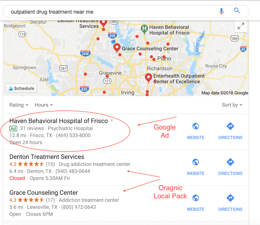 Google Local SEO Drug Rehab